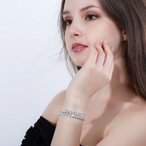 Image 2 - Pera Luxe 925 Sterling Zilveren Bruids Partij Sieraden Bladvorm Cz Crystal Stone Grote Bruiloft Armbanden Armband Voor Bruiden B025