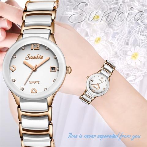 Marca de Luxo Novo Sunkta Relógio Feminino Topo Aço Inoxidável Saterproof Relógios Moda Esportes Senhoras Vestido Pulseira