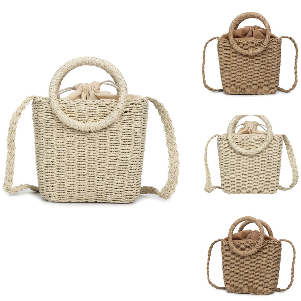 Handbag Straw String Solid-Color Fashion Women's Versatile 16 Closure-Type Main-Material