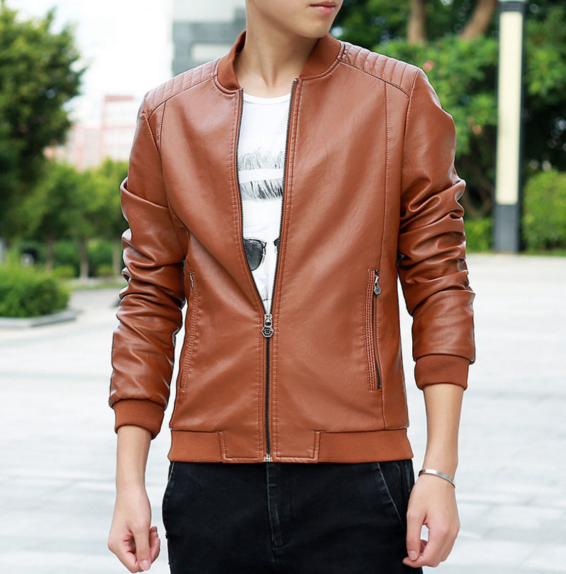 PU Leather Jacket Men Black Red Brown Solid Mens Faux Fur Coats Trend Slim Fit Younth Motorcycle Suede Thin section Jacket Male