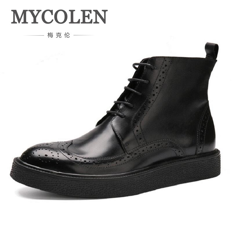 MYCOLEN New British Style Men Boots Casual Shoes Male Work Thick Bottom Martin Boots Comfortable Lace Up Black Shoes Man beffery 2018 british style patent leather flat shoes fashion thick bottom platform shoes for women lace up casual shoes a18a309