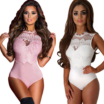 ADEWEL 2019 Sexy Women Lace Bodysuit High Neck Open Back Bodycon Body Tops Woman Bodysuit Romper Combinaison Black/white/pink 1