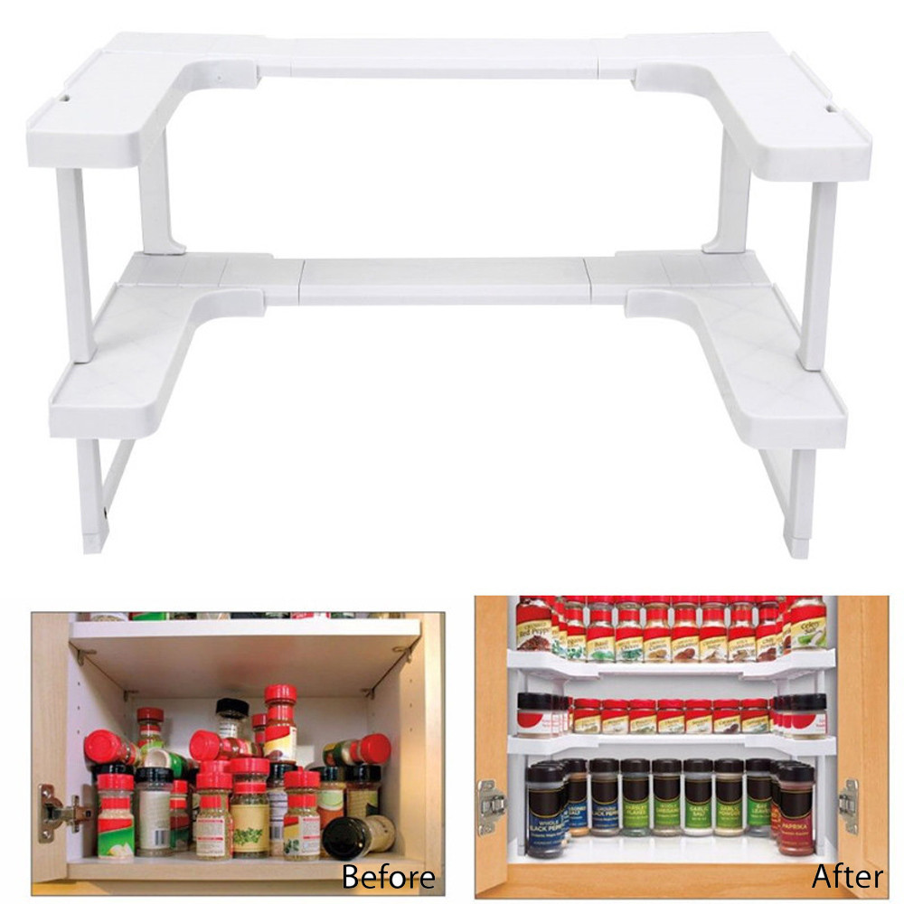 New Multi-function Adjustable Kitchen Bathroom Rack Stackable Storage Organizer Kitchen Shelving Spice Jar Rack Shelf Accessoriy