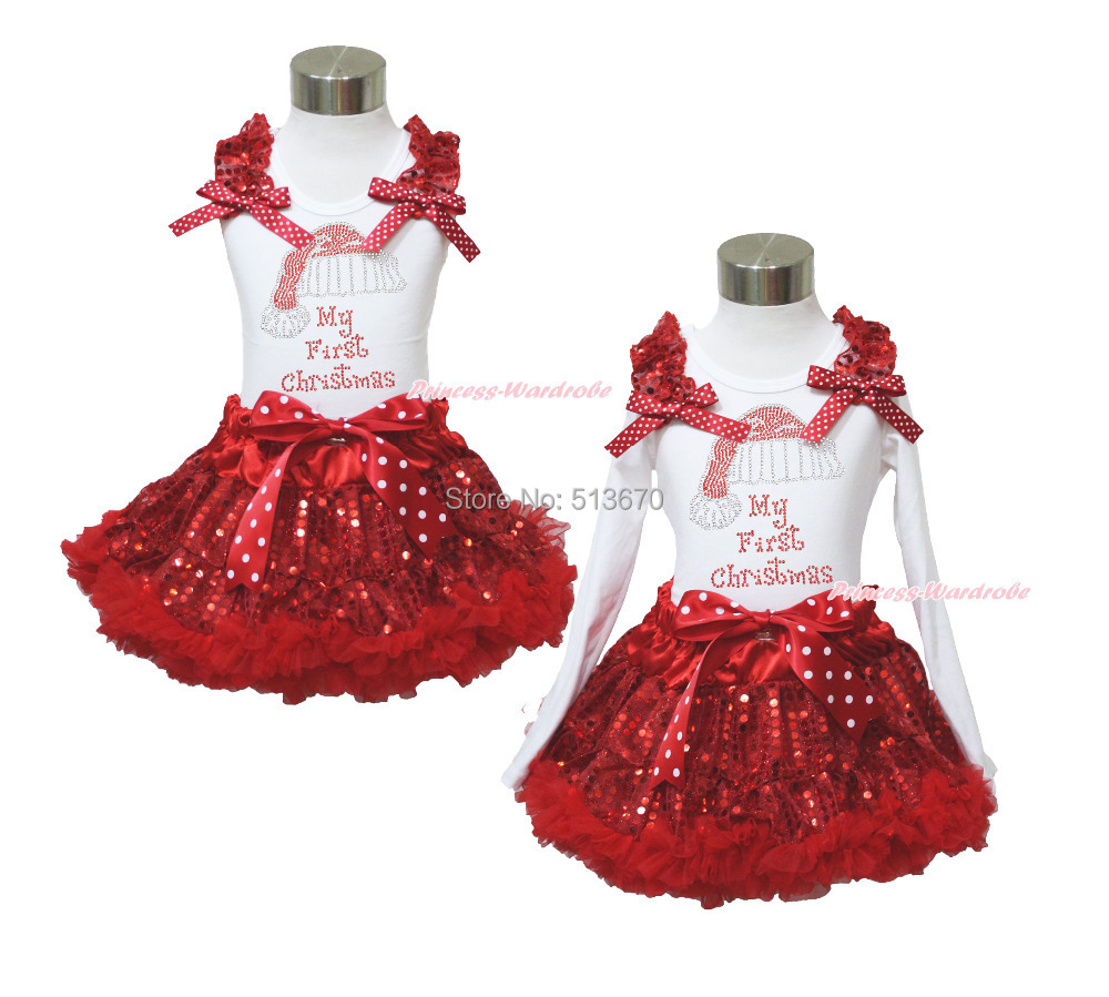 XMAS Rhinestone 1ST Christmas Print White Top Sparkle Sequins Red Pettiskirt Girl Outfit 1-8Y MAPSA101 my 1st christmas santa claus white top minnie dot petal skirt girls outfit nb 8y