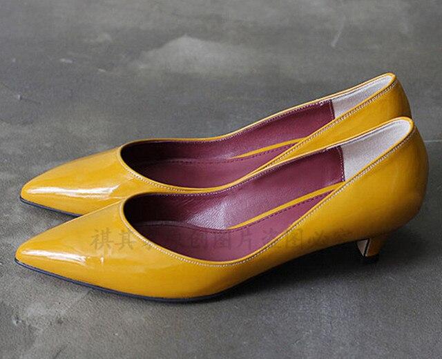 Point toe mujeres de charol moda zapatos de tacones altos del cuero genuino bombea color puro sy-660