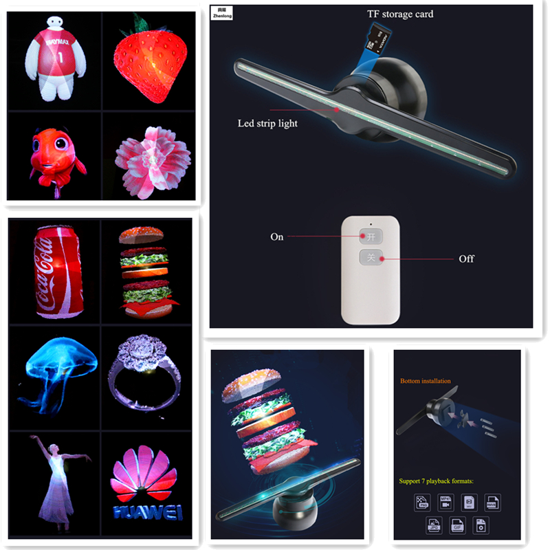 3D Hologram Advertising Fan Projector light display holographic LED holograma wifi customized photos videos Decor Fan Light image