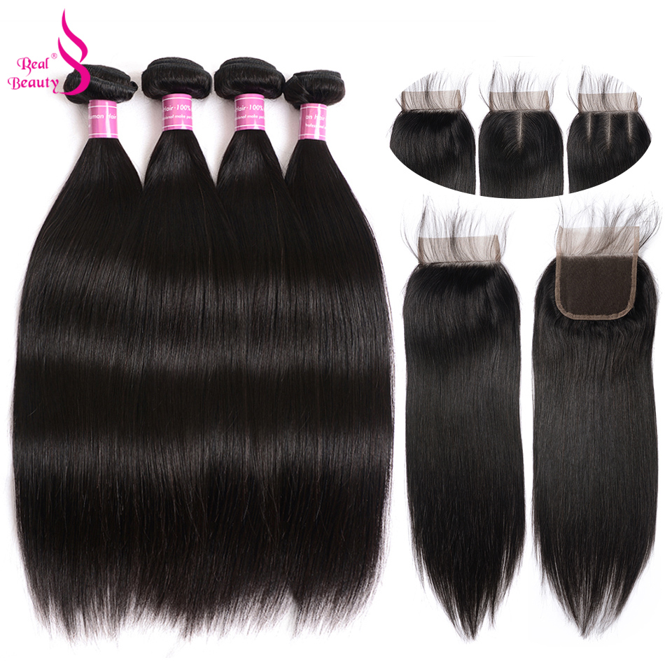Brazilian Straight Hair 4 Bundles With Closure 100% Human Hair Bundles With 4X4 Closure Non-Remy Real Beauty Hair