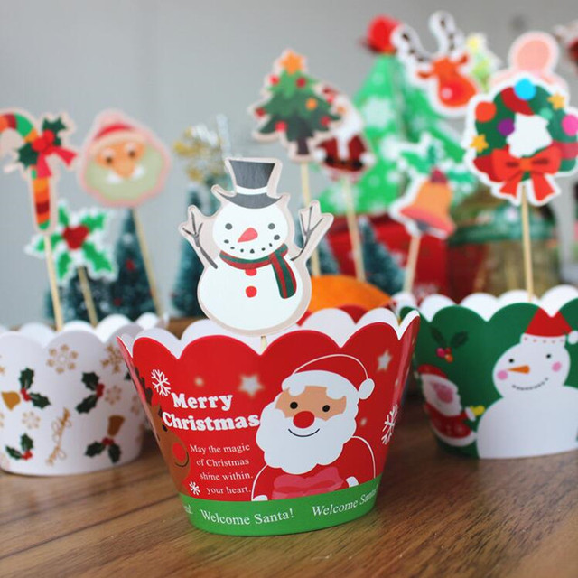 Cute Christmas Cupcake Wrappers Toppers Deer Santa Claus Snowman