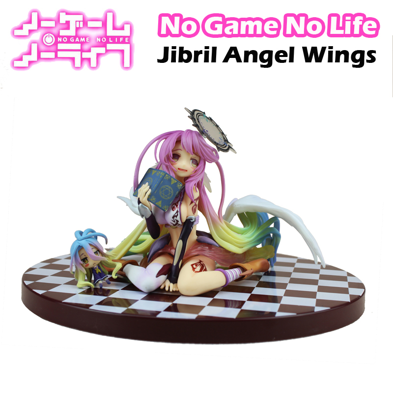 Free Shipping 5 No Game No Life Anime Jibril Angel Wings 1/7 Scale Boxed 13cm PVC Action Figure Collection Model Doll Toys Gift new anime game of life no game no life angel jibril scale complete pvc figure 15cm kawaii girl model toys for gifts
