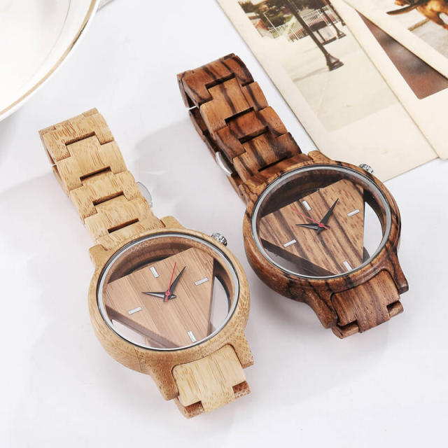 Mens Wooden Watches Hand-Made Engraved Inverted Triangle Wood Watch Men Women Creative Quartz Watch Gifts relogio masculino 5