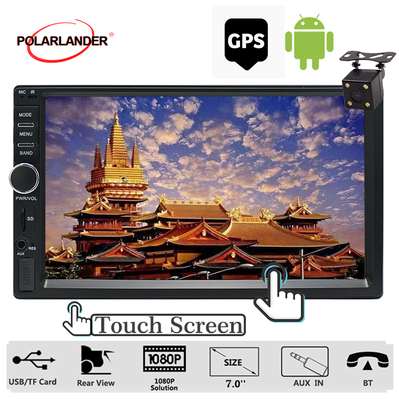 Lecteur multimédia de voiture Android 7 ''lecteur Audio Bluetooth USB SD 2din Autoradio écran tactile stéréo Autoradio Navigation GPS