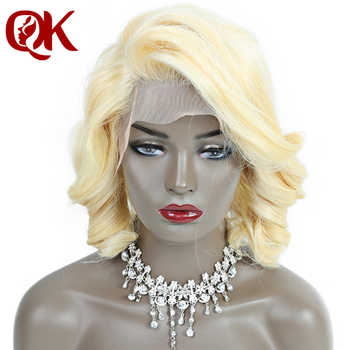 QueenKing hair Lace Front Wig 180% Platinum Blonde 613 Bob Wig Wavy Free Part Preplucked Brazilian Human Remy Hair - DISCOUNT ITEM  29% OFF All Category