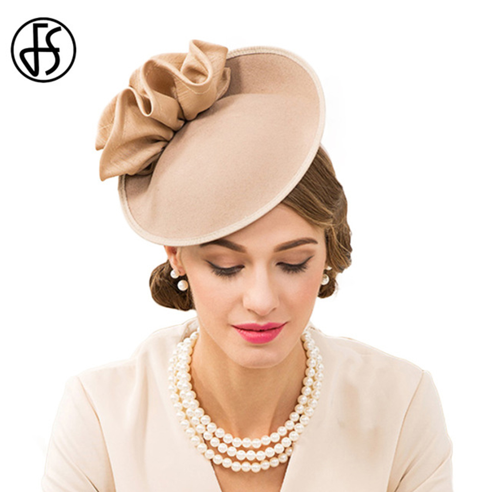 FS Women 100% Wool Pillbox Hat Weddings Fascinators Dress Hats For Women Elegant Vintage Derby Cap Church Fedora With Flower