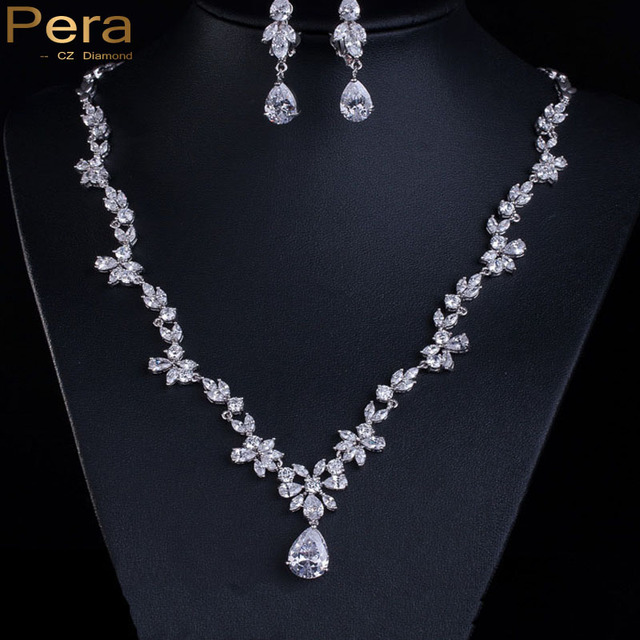 Luxury Cluster Flower Marquise Created CZ Diamond Drop Necklace And Earrings Bridal Wedding Costume Jewelry Sets For Brides J036