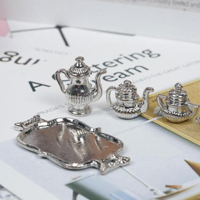 Miniature Classic Silver Metal Teapot Set For Doll House