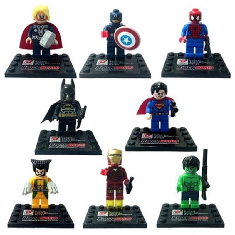 8pcs Avengers Marvel Super Hero Compatible brand Marvel Toys Superman Batman spiderman DIY Bricks toys playmobile