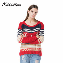 Misszonee Women Christmas Jesus Print Sweaters Casual Long Sleeve Autumn O Neck Deer Print Slim Pullover Sweater Winter Tops