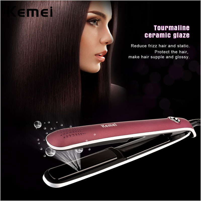 Kemei Professional Tourmaline Ceramic Hair Straightener Flat Iron Straightening Irons Styling Tools LCD display with 2m cable P0 professional vibrating titanium hair straightener digital display ceramic straightening irons flat iron hair styling tools new