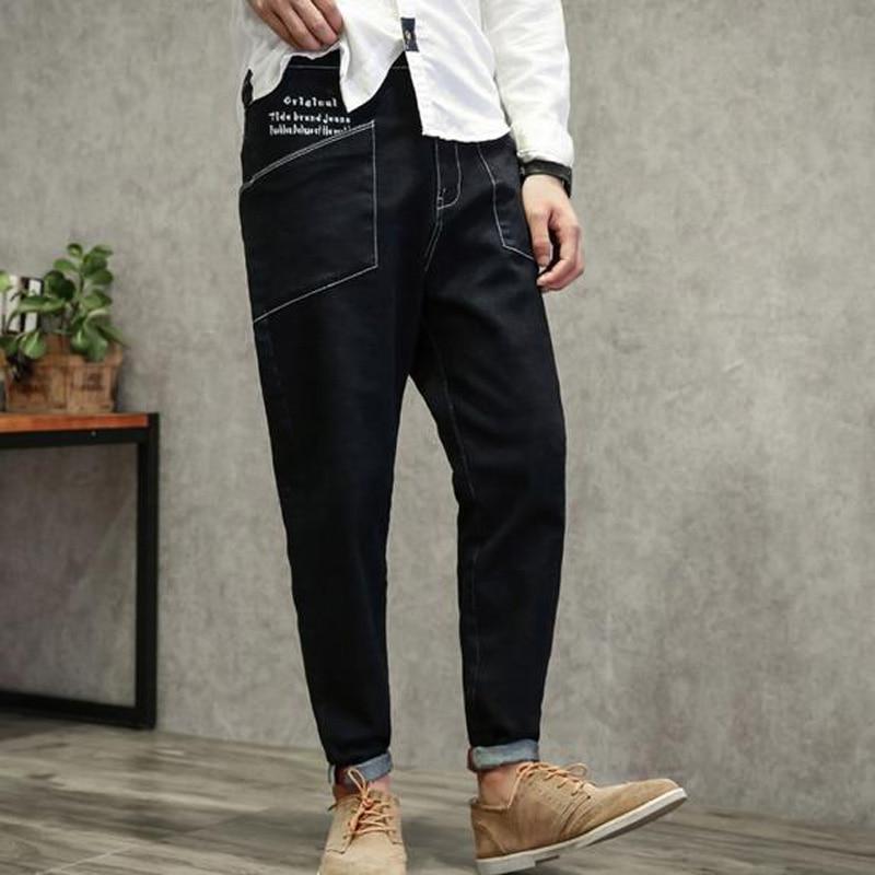 ФОТО 2017 new arrive Loose male autumn skinny jeans plus size plus size  black male big pocket harem jeans casual