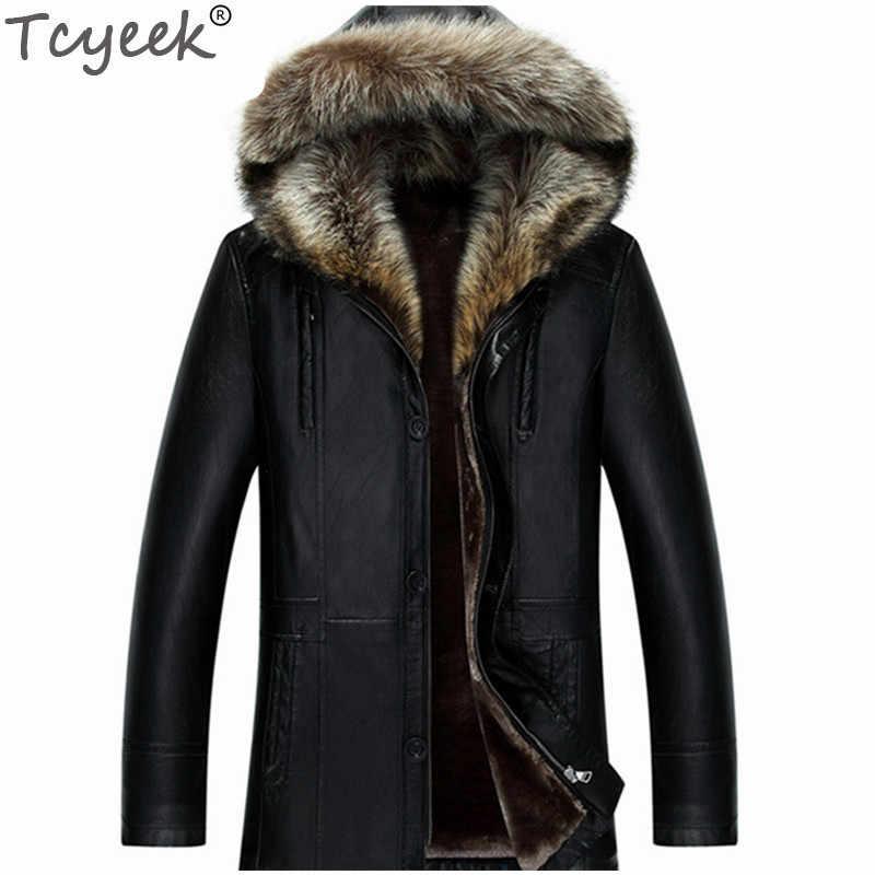 Tcyeek зимняя куртка из искусственной кожи для мужчин с воротником из меха енота и капюшоном Casaco Masculino кашемировая подкладка плюс размер 6XL мужские пальто CJ206