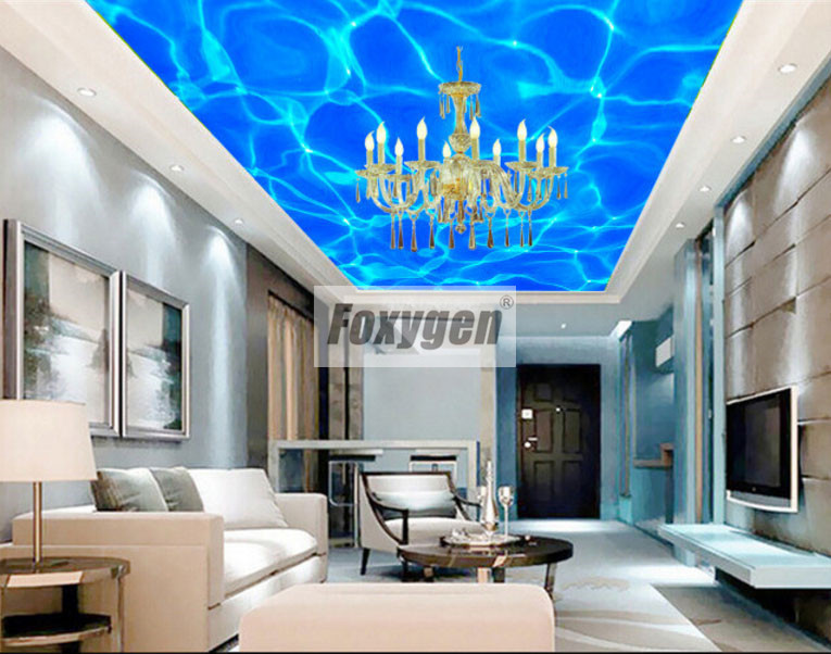 Foxygen ceiling and wall decoration materials PVC Suspended false stretch ceiling system abstract  Water Designs matt foil soft pvc stretch ceiling film for swimming pool decoration