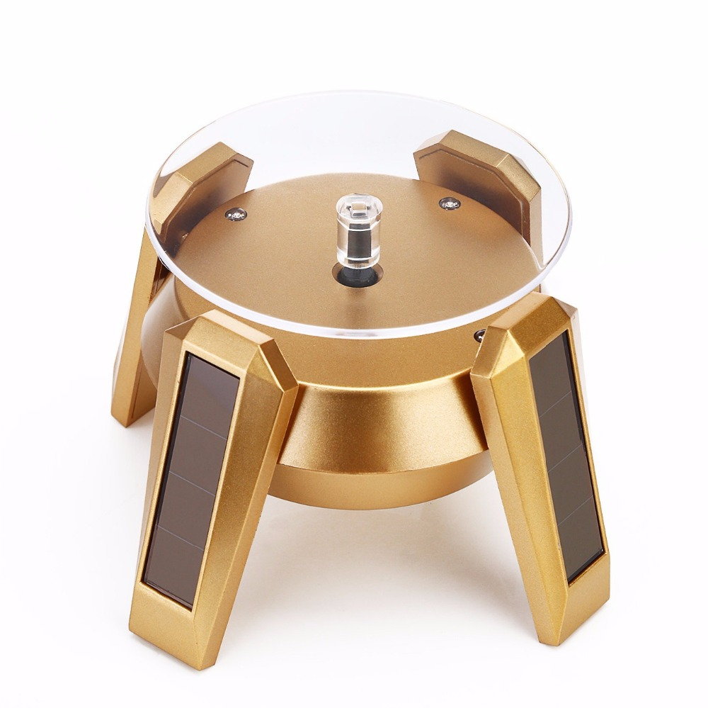 Hot 10mm Gold Plated Silver Black Solar Power 360 Rotating Display Stand Turn Table Plate For Ring Necklace Bracelet Jewelry