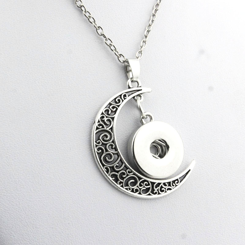 Boom Life snap button jewelry moon pendant Necklace for women mens Vintage accessories one direction