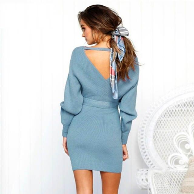 748864843 VIEUNSTA Novo Outono Inverno Backless Camisola Vestido Mulheres Cruz Dupla  Com Decote Em V malha Quente Vestidos Sexy Bodycon Magro Vestido Com Cinto  De ...