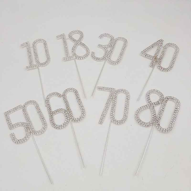 Image 5 - Diamante Dual Numeral 10/18/30/40/50/60/70/80 Monogram Cake Toppers for Wedding Birthday Number Beautiful-in Other Cake Tools from Home & Garden