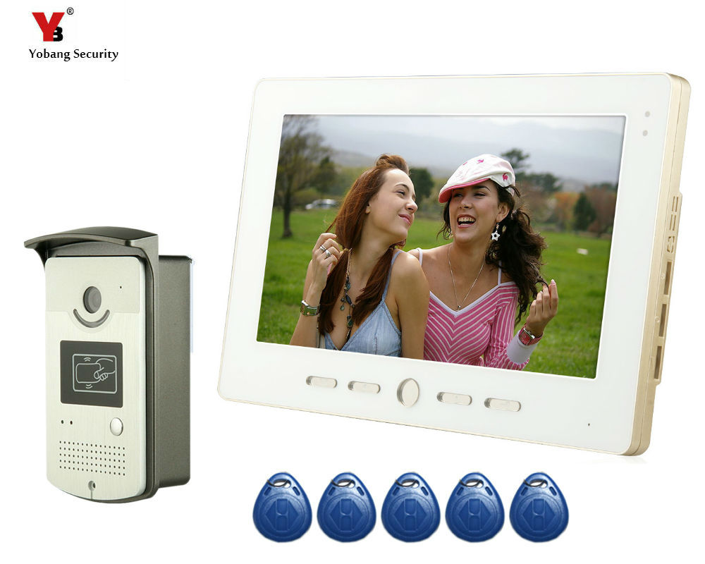 YoBang Security 10 Video Intercom Door Phone System With 1 Monitor 5 RFID Card Reader HD Doorbell Camera In Stock Wholesale free shipping 7 video intercom video door phone system with 1 monitor 1 rfid card reader hd doorbell camera in stock wholesale