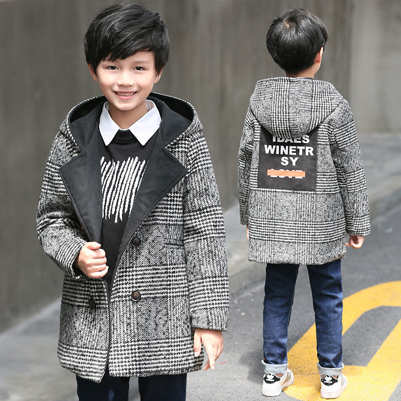4-14y Baby Boys Parka Enfant Winter Coat Kids Jacket 2018  Long Sleeve Fashion Hooded Houndstooth Thick Warm Children Outerwear women winter coat leisure big yards hooded fur collar jacket thick warm cotton parkas new style female students overcoat ok238