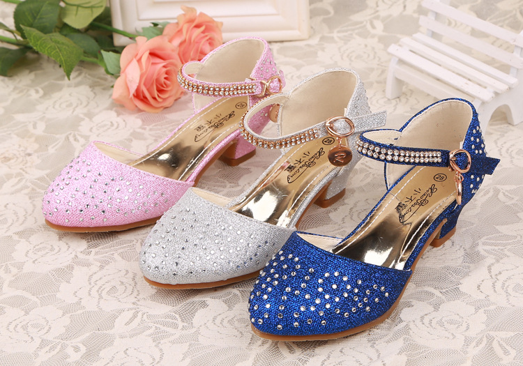 Luxury Childrens Kids Crystal Girls Princess Leather Shoes Casual shoes Sandals with Diamonds High Heels Dancing show shoes