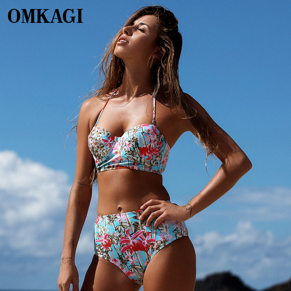 OMKAGI Brand Hot Bikini Swimwear Women Swimsuit High Waist Bikinis Set Push Up Bathing Suit Beachwear Swim Wear Swim Swim Suit kayvis 2017 new bikinis women swimsuit retro push up bikini set vintage plus size swimwear bathing suit swim beach wear 3xl