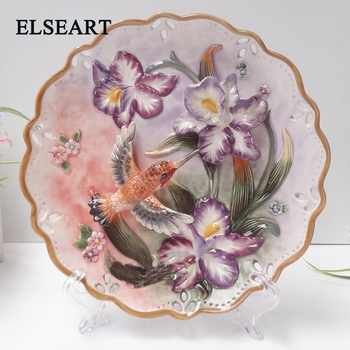 Ceramic purple flower and Hummingbird wall dishes with plastic shelf porcelain decorative plates for home decoration