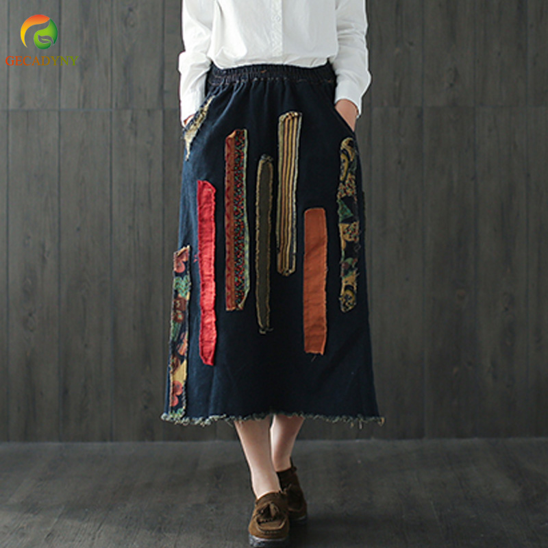 Women Denim Skirts Retro Art Appliques Elastic Waist 2018 Spring Autumn New Casual Women Skirts Old Vintage Chinese Style Jeans