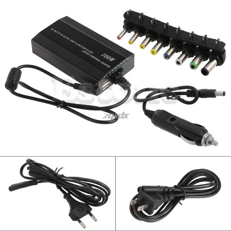 Universal 8xTip Connectors AC/DC To DC Inverter Car Charger Power Supply Adpter With Car Charger Adapter Cord For Laptop EU Plug