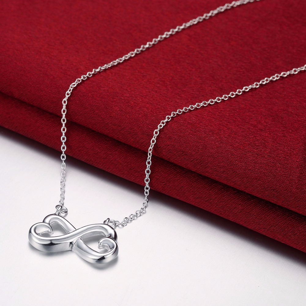 Double Heart Infinity Endless Love 925 Stamped Silver Plated Necklace