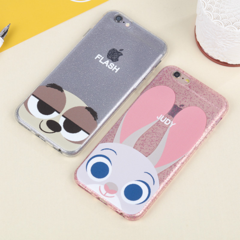 Fashion Cartoon Zootopia Flash Judy Transparent Soft Back Cover for IPhone 6 6s 5 5s SE Phone Case Bling Shining Glitter Shell