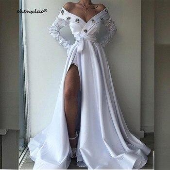 цена на CHENXIAO White Evening Dress 2020 A-Line Off The Shoulder Full Sleeves Split Court Train Long Evening Dresses Vestidos De Festa
