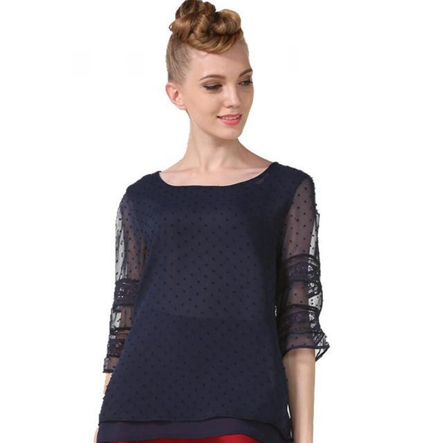 Summer Chiffon blouse women Hollow Half sleeve shirt Plus Size Casual ladies Tops shirt women blusas blusa feminina S-5XL 6