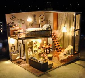 Image 2 - LED Light Doll Houses Miniature Dollhouse Furniture Kit Assembly Model Doll House Handmade Wooden Multicolor Toys Birthday Gift