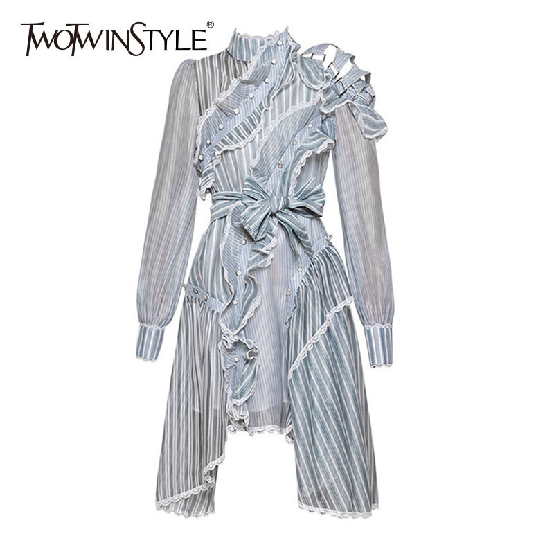 TWOTWINSTYLE Asymmetrical Dress Female Striped Ruffles Patchwork Off Shoulder Hollow Lace Up Lantern Sleeve Midi Dresses