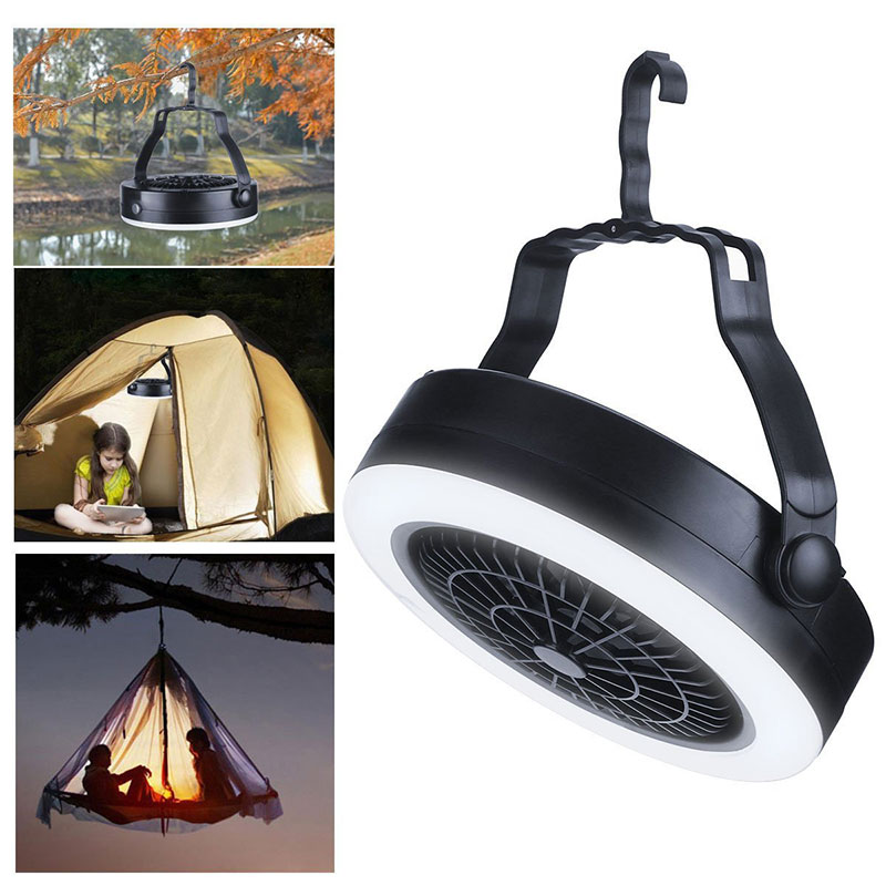 2 In 1 Outdoor Travel Lantern Tent Lamp And Fan With Hanging Hook 3 Way Powered LED Fan Camping Hiking Night Lights DA