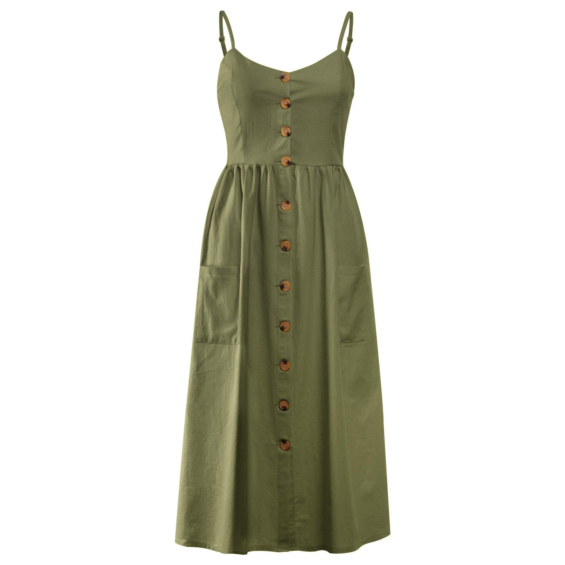 Button Striped Print Cotton Linen Casual Summer Dress 19 Sexy Spaghetti Strap V-neck Off Shoulder Women Midi Dress Vestidos 19