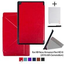 Para todos los nuevos amazon fire hd 8 sexta generación de la tableta 2016 versión soporte de la cubierta caso plus protector de pantalla y stylus pen