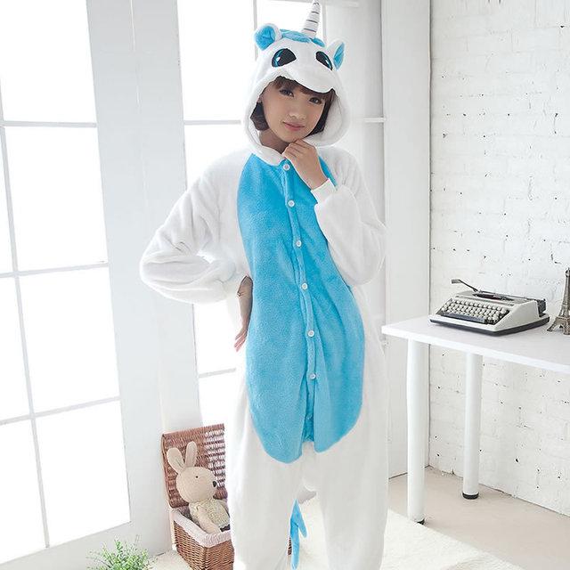 c33700a10682 Adult Unicorn Pajamas Cute Animal Pegasus Unicorn Pajamas Flannel ...