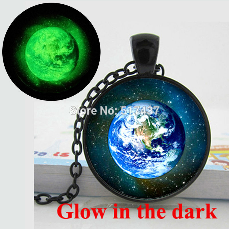 Glow in the Dark Earth Necklace Earth Pendant galaxy universe space art photo glass cabochon necklace pendant Glowing jewelry