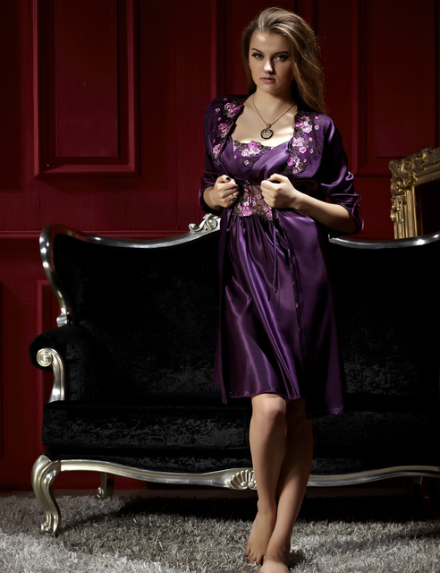 Fashion Purple Women Robe Sets Twinset Three Quarter Sleeve Nightgowns Solid Lace Embroidery Nightdress Soft Sleepwear Sale 8208