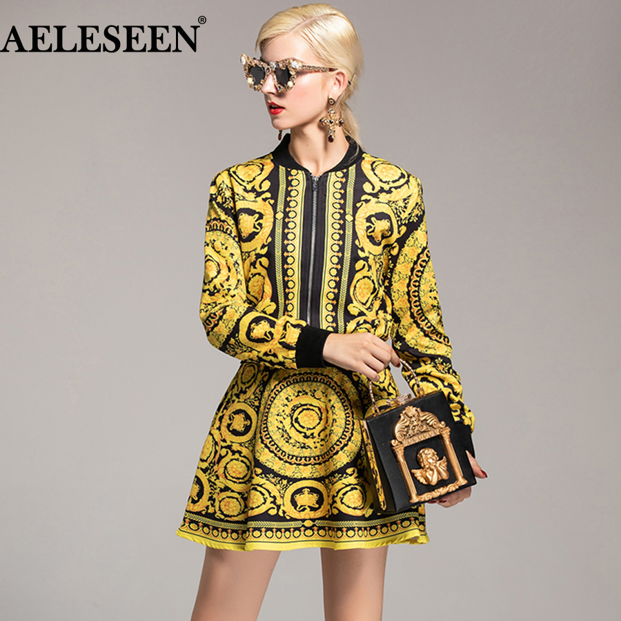 AELESEEN ファッション女性ヴィンテージ Twinsets 2018 エレガントな新エスニックプリント高級トップ + セクシーな花宮殿プリントミニスカートスーツ  グループ上の レディース衣服 からの レディースセット の中 1