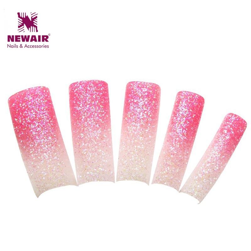 70pcs New Style Glitter French Nails Dazzling Beauty Pink & White ...